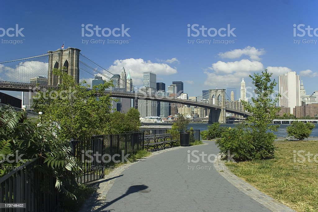 Brooklyn Bridge and Downtown Manhattan royalty-free stock photo
