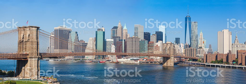 Brooklyn Bridge and Downtown Skyline in New York stock photo
