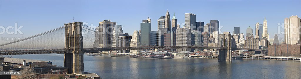 Brooklyn Bridge and Financial District Of New York royalty-free stock photo
