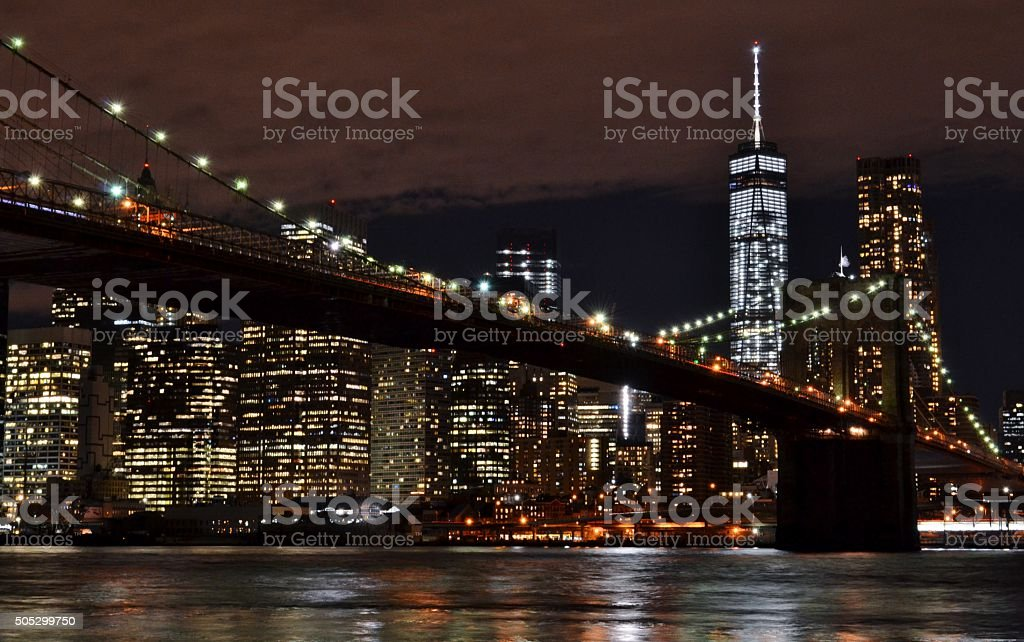Brooklyn Bridge and Freedom Tower at Night stock photo