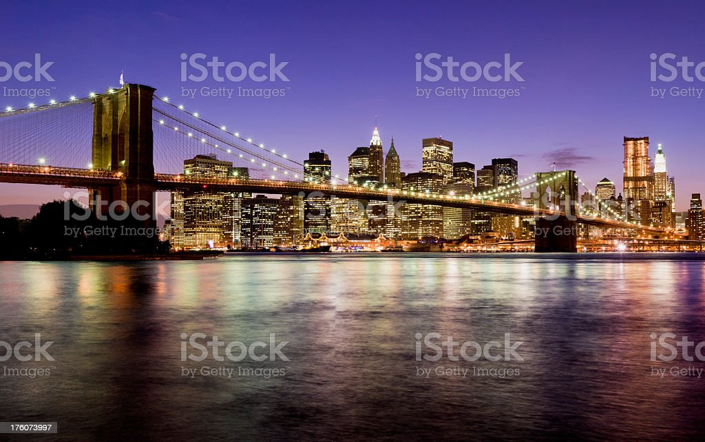 Brooklyn Bridge and Lower Manhattan in New York City USA royalty-free stock photo
