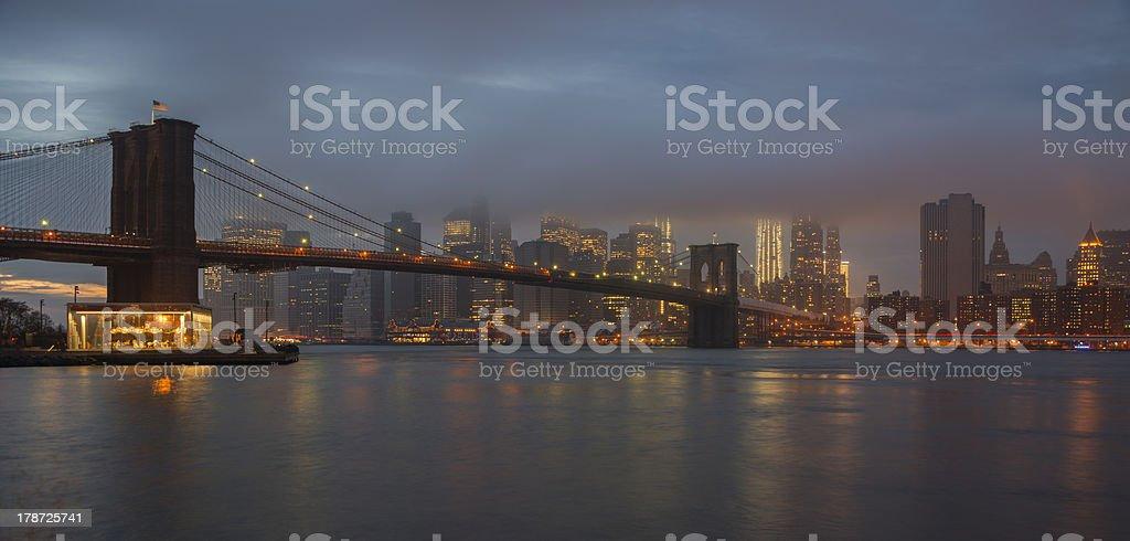 Brooklyn Bridge and Lower Manhattan, New York royalty-free stock photo
