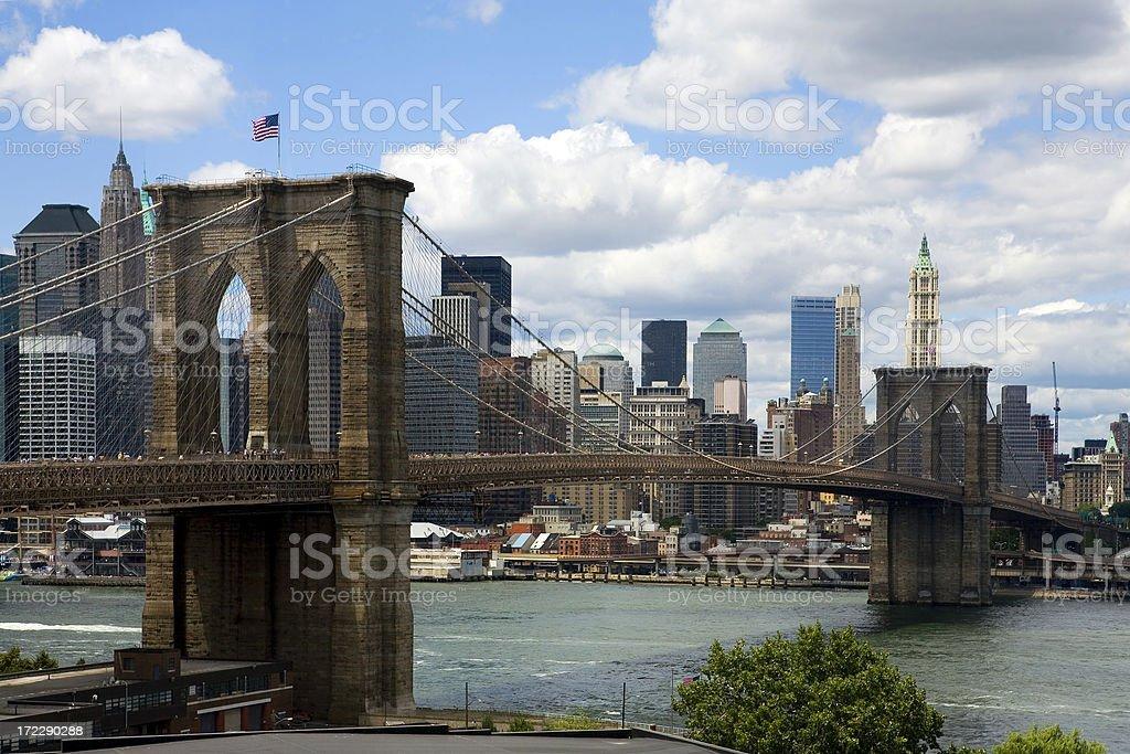 Brooklyn Bridge and Lower Manhattan royalty-free stock photo