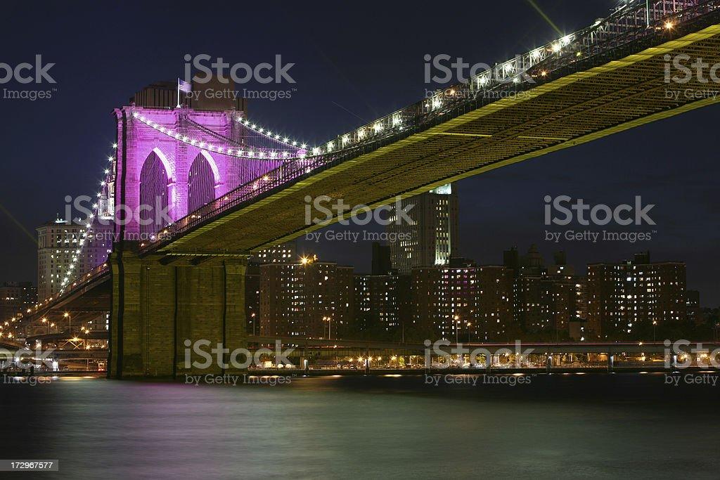Brooklyn Bridge and Manhattan at Night royalty-free stock photo