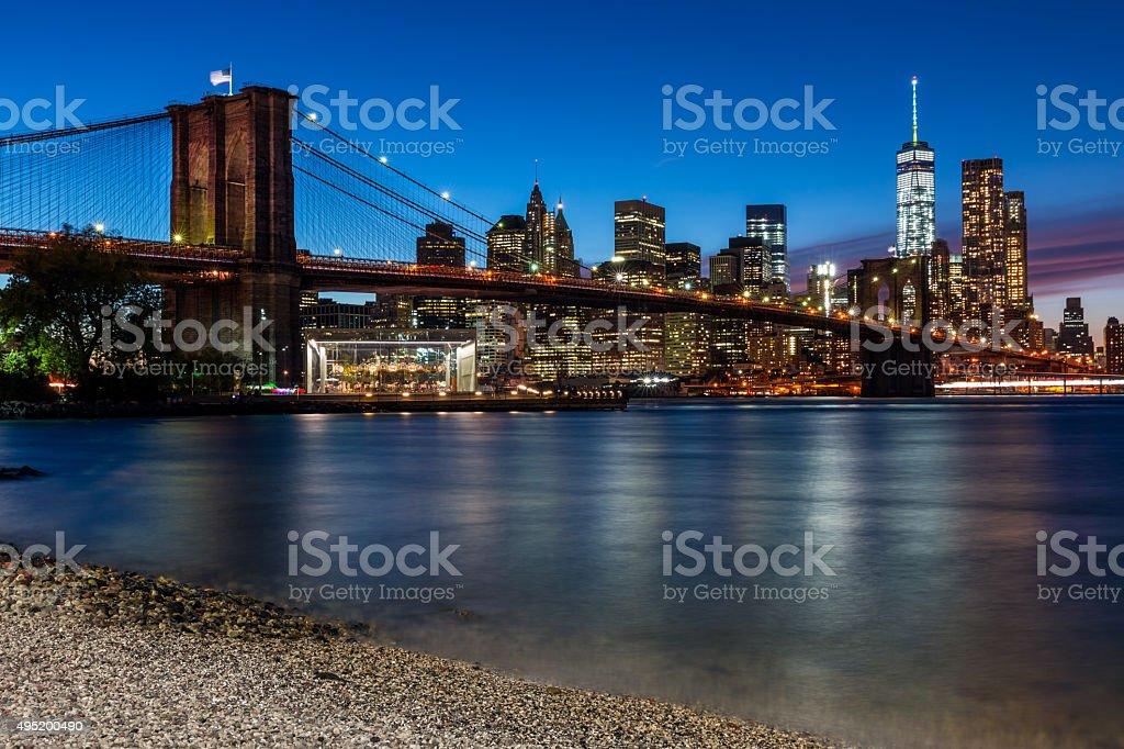 Brooklyn Bridge and Manhattan at Sunset, New York City stock photo