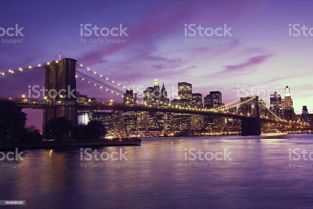 Brooklyn Bridge and Manhattan at sunset, New York royalty-free stock photo