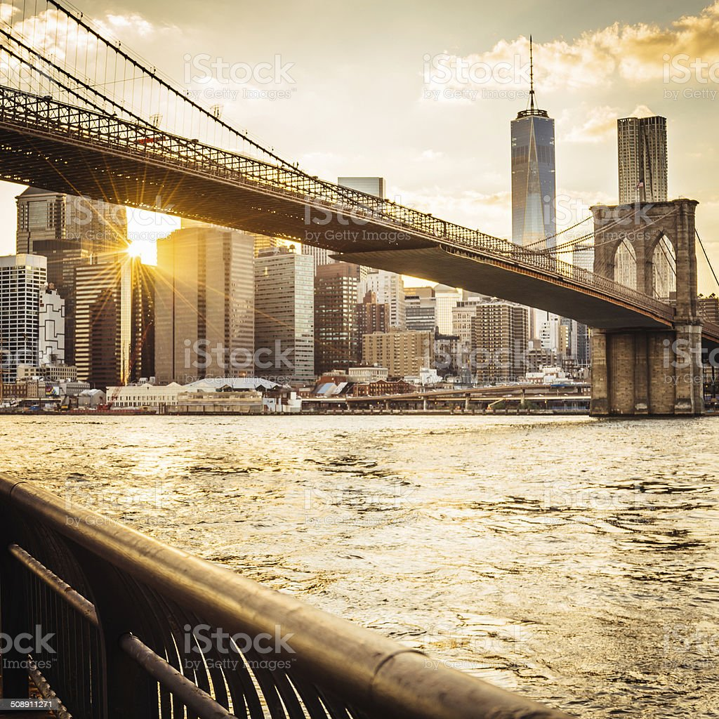 Brooklyn Bridge and Manhattan at sunset royalty-free stock photo
