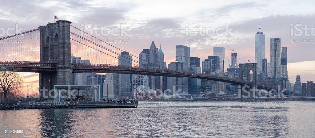 Brooklyn Bridge and Manhattan at sunset stock photo