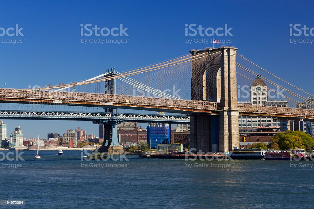 Brooklyn Bridge and Manhattan Bridge in morning, New York City. stock photo