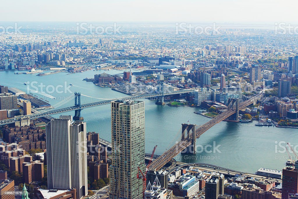 Brooklyn Bridge and Manhattan Bridge New York City stock photo