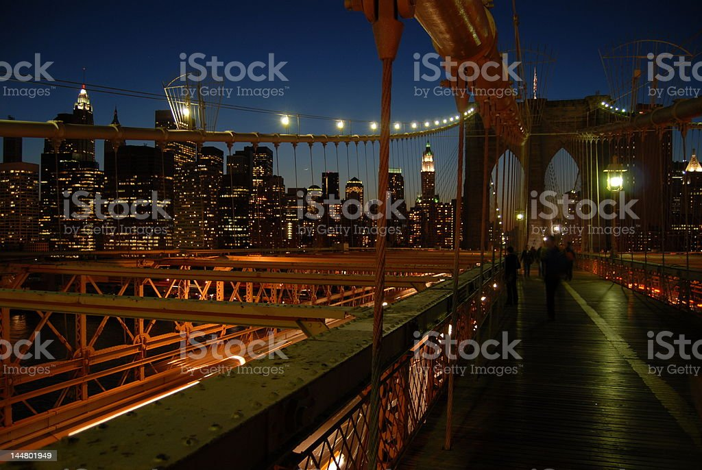 Brooklyn Bridge and Manhattan in the evening royalty-free stock photo