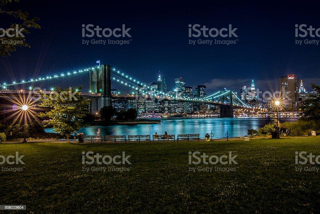 Brooklyn Bridge and Manhattan, New York stock photo