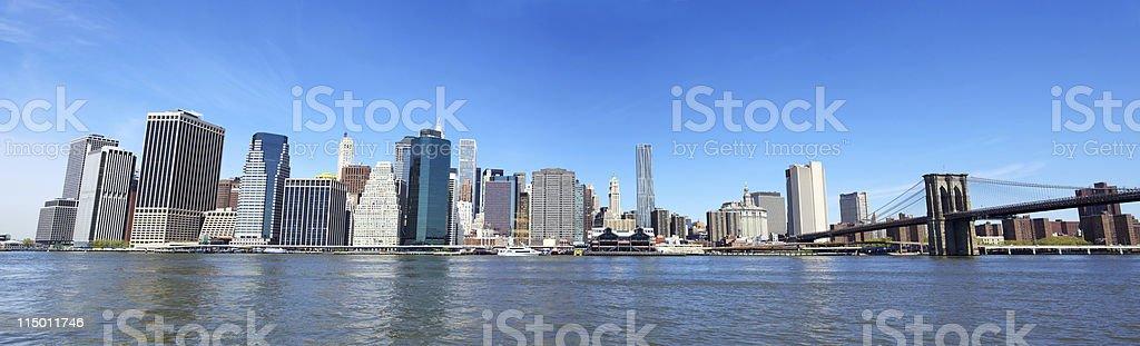 Brooklyn Bridge and Manhattan panorama stock photo