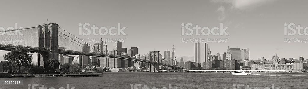 Brooklyn Bridge and Manhattan Panorama royalty-free stock photo