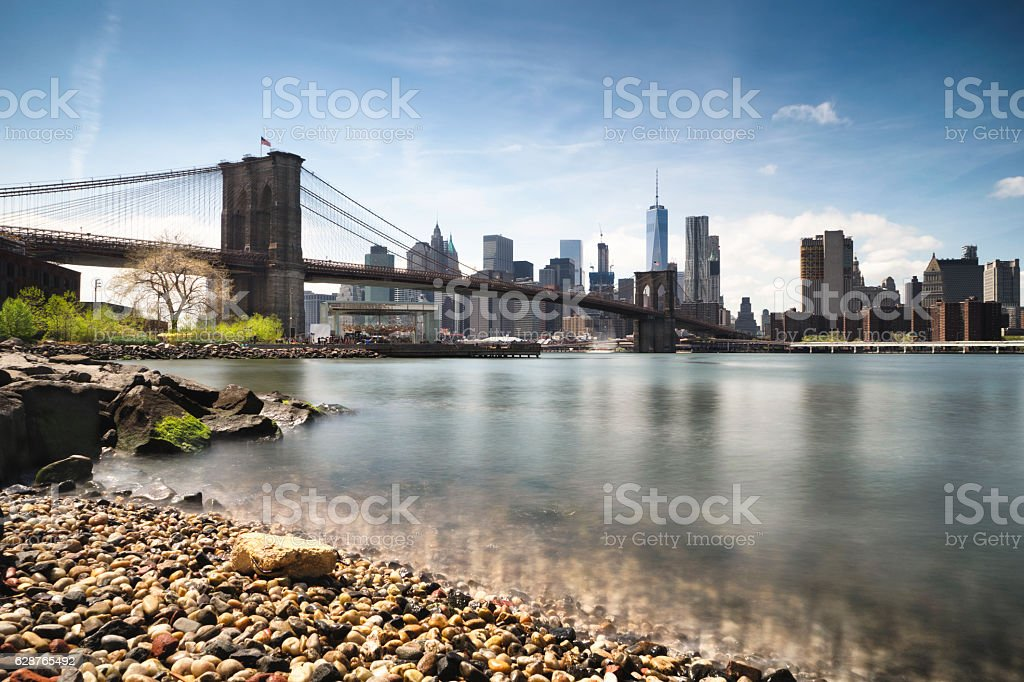 Brooklyn Bridge and Manhattan stock photo
