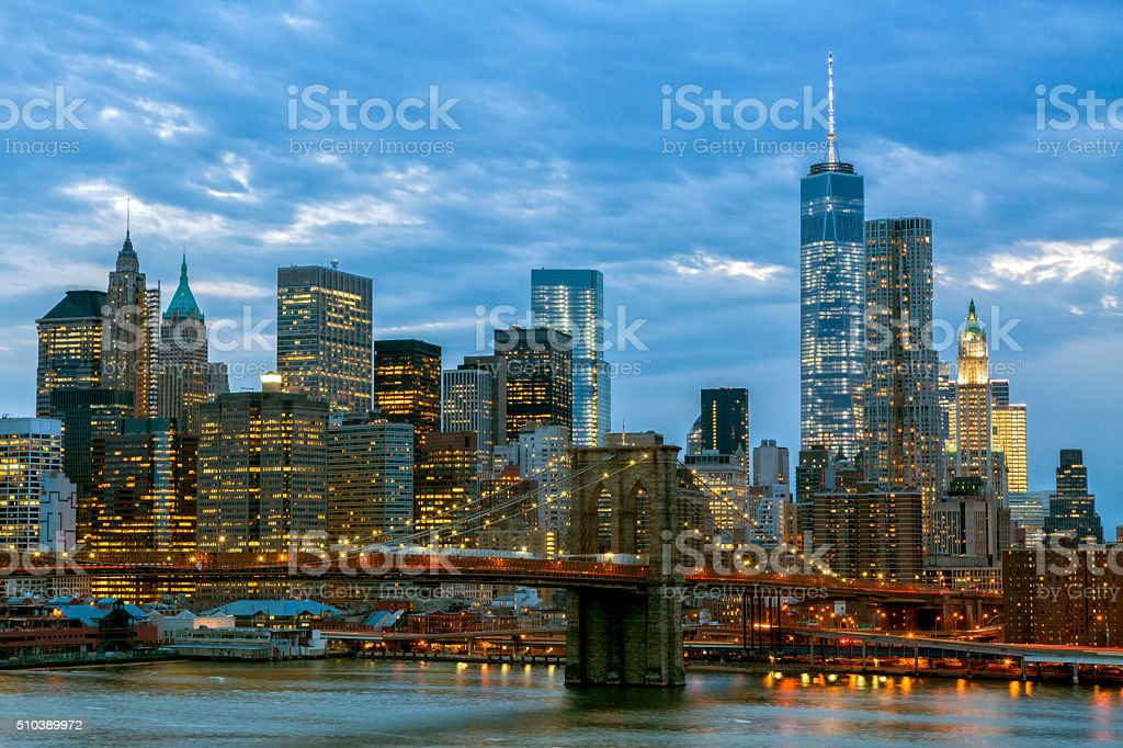 Brooklyn Bridge And Manhattan Skyline at Dusk, New York stock photo