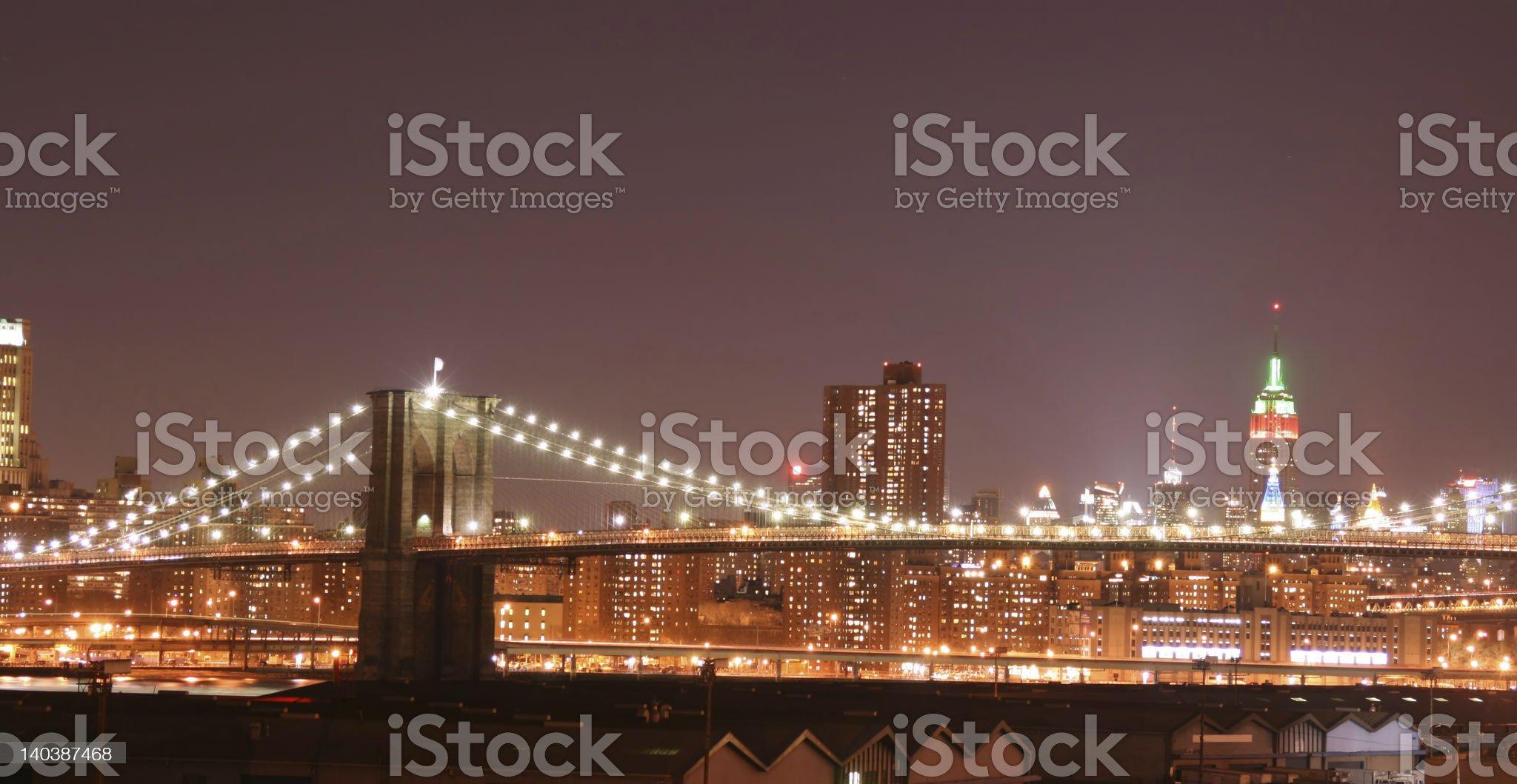 Brooklyn Bridge and Manhattan skyline At Night royalty-free stock photo