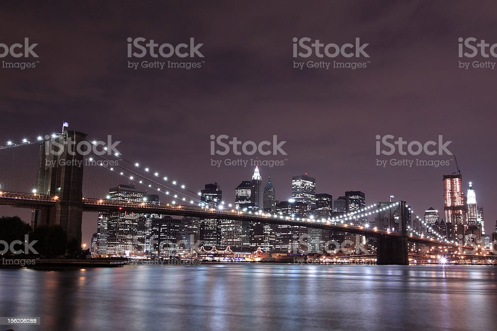 Brooklyn Bridge and Manhattan skyline At Night royalty-free stock photo