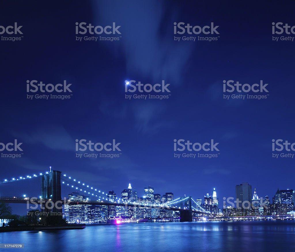 Brooklyn Bridge and Manhattan Skyline Blue royalty-free stock photo