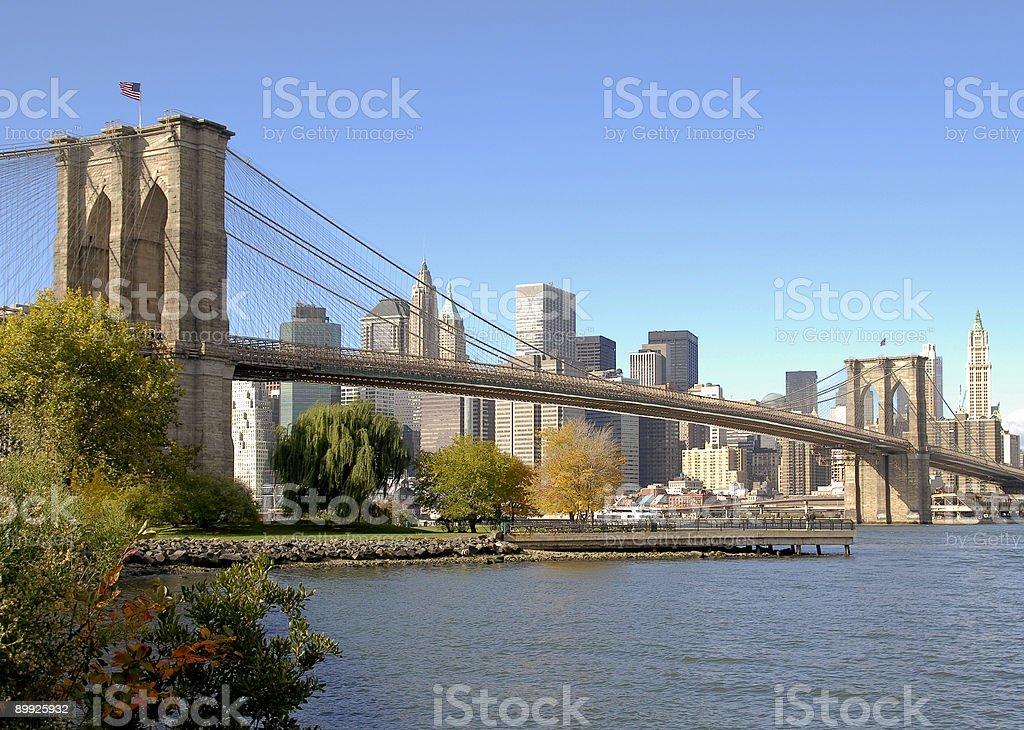 Brooklyn Bridge and Manhattan Skyline in autumn royalty-free stock photo