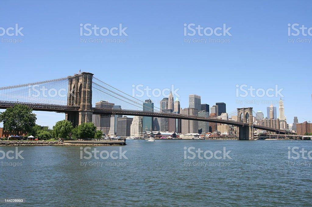 Brooklyn Bridge and Manhattan skyline, New York City royalty-free stock photo