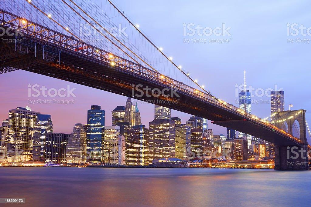 Brooklyn Bridge And Manhattan Skyline, New York stock photo