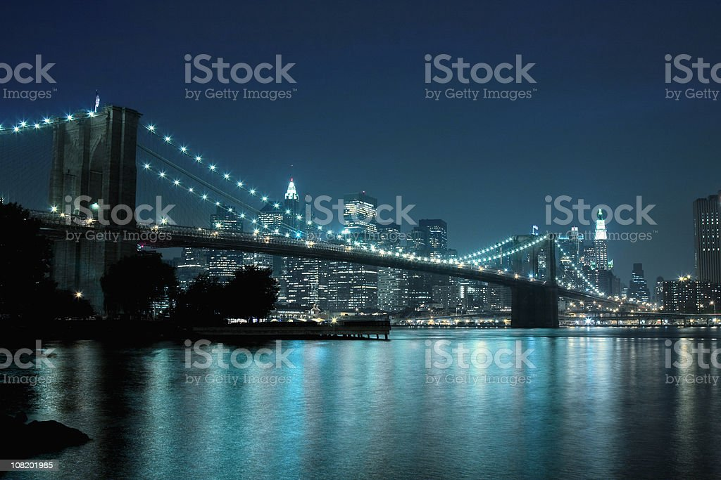 Brooklyn Bridge and Manhattan Skyline royalty-free stock photo