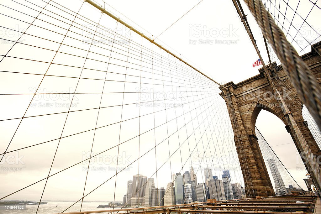 Brooklyn Bridge and New York City Skyline royalty-free stock photo
