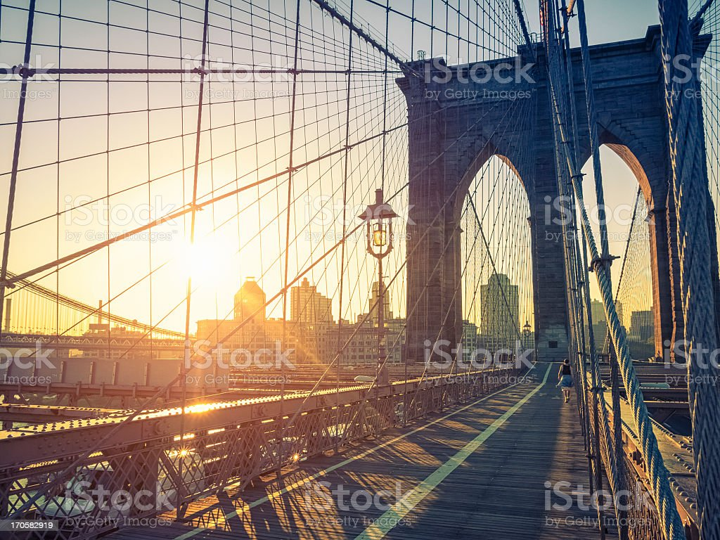 Brooklyn Bridge and New York skyline at dawn stock photo