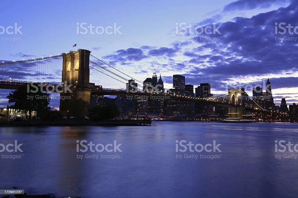 Brooklyn Bridge and New York Skyline at Dusk royalty-free stock photo
