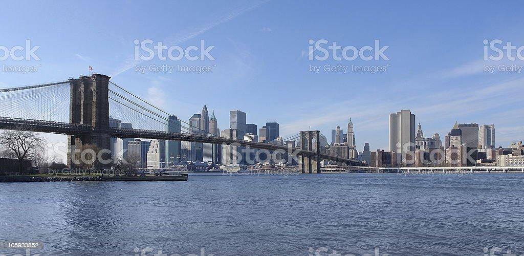 Brooklyn Bridge and New York skyline royalty-free stock photo