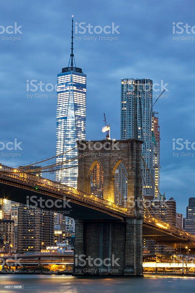 Brooklyn Bridge at dusk stock photo