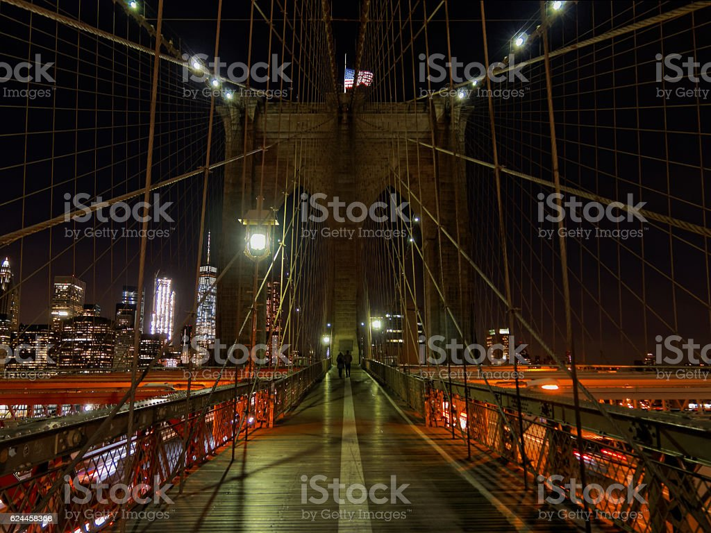 Brooklyn Bridge at Night New York City stock photo