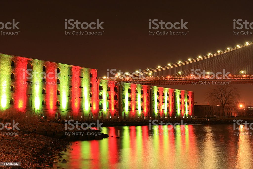 Brooklyn Bridge At Night royalty-free stock photo