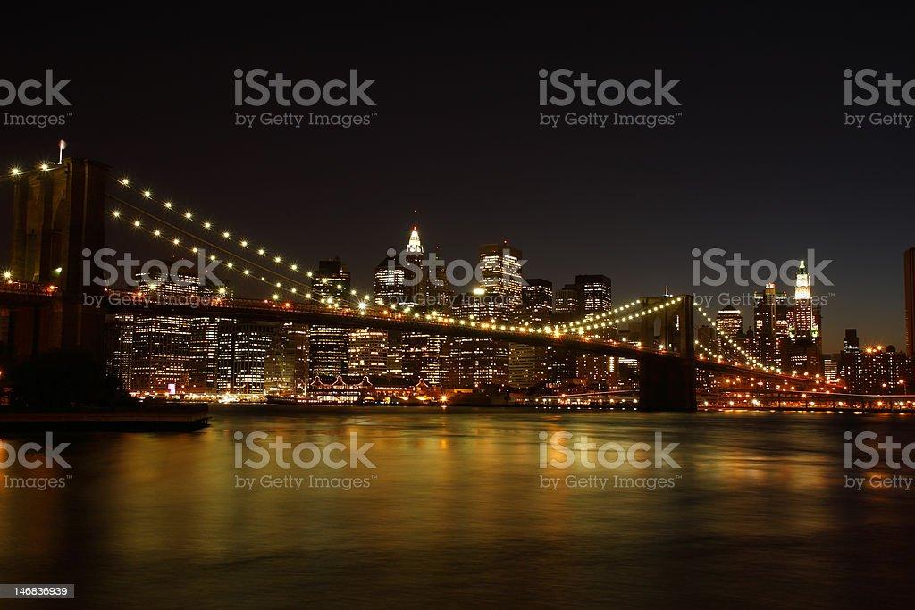 Brooklyn Bridge at night royalty-free stock photo
