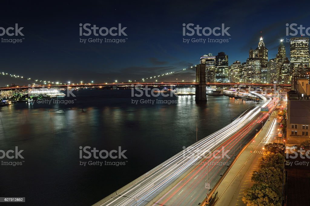 Brooklyn Bridge at night. stock photo
