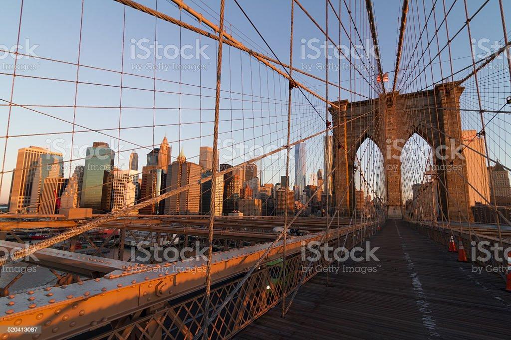 Brooklyn Bridge at Sun Rising stock photo