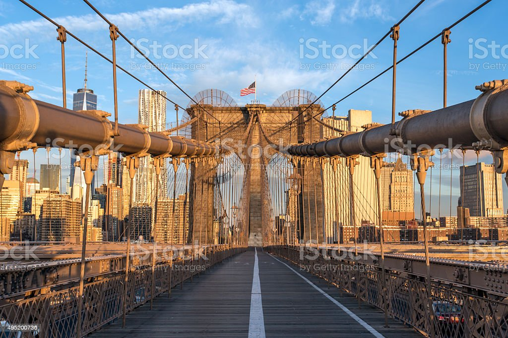 Brooklyn Bridge at Sunrise, New York City, USA stock photo