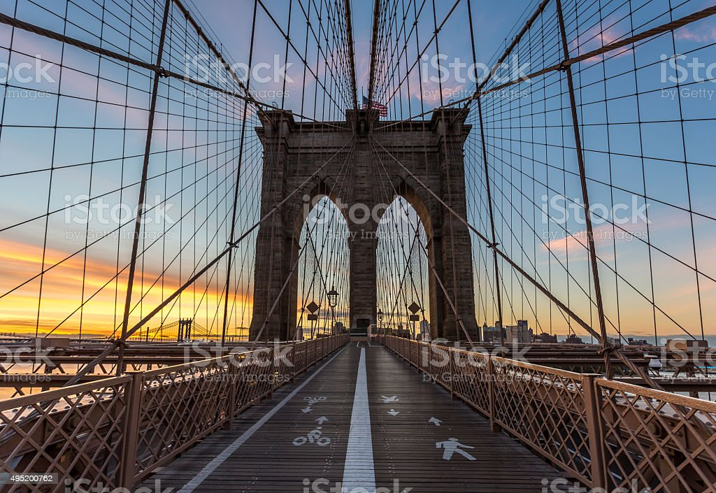Brooklyn Bridge at Sunrise, New York City, USA stock photo