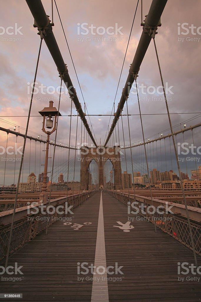 Brooklyn Bridge at sunset royalty-free stock photo