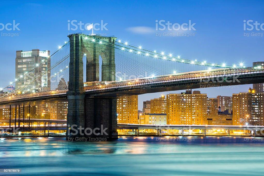 Brooklyn Bridge at Twilight, New York City royalty-free stock photo