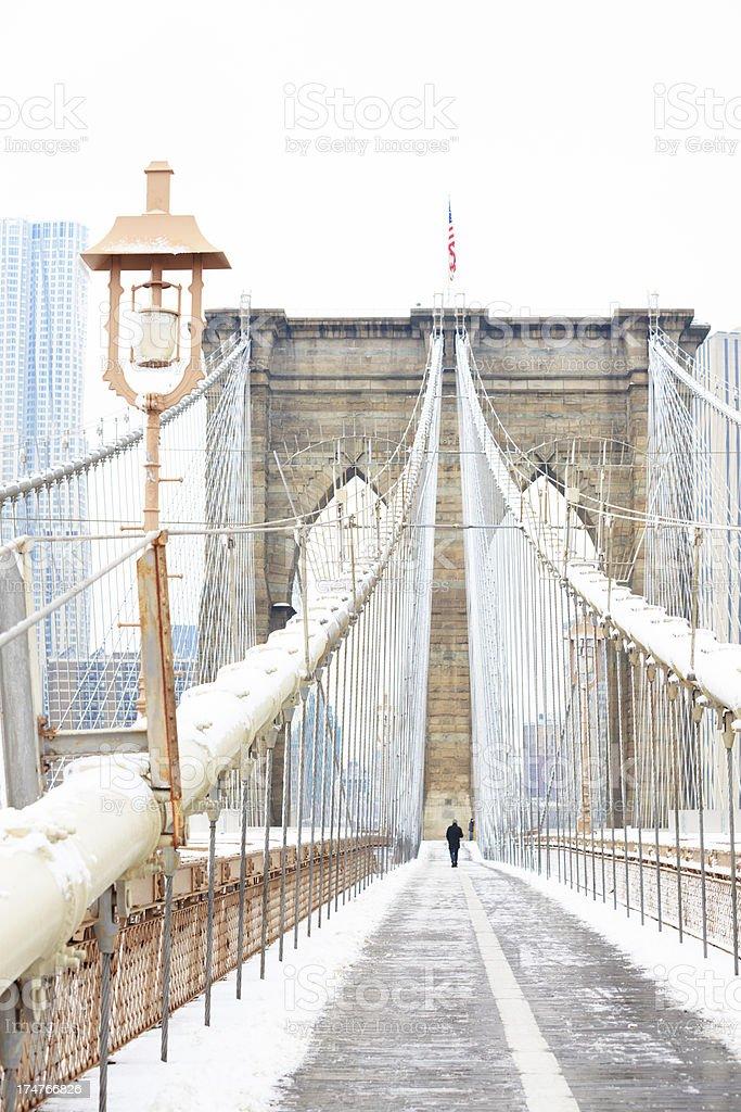 Brooklyn Bridge at winter royalty-free stock photo