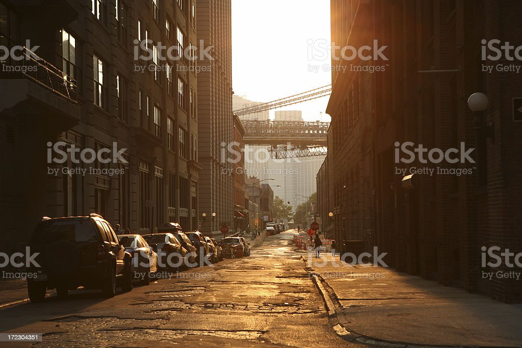 Brooklyn Bridge Backstreet at Sunset Golden Lens Flare royalty-free stock photo