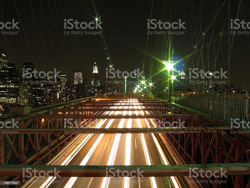 Brooklyn Bridge by Night royalty-free stock photo