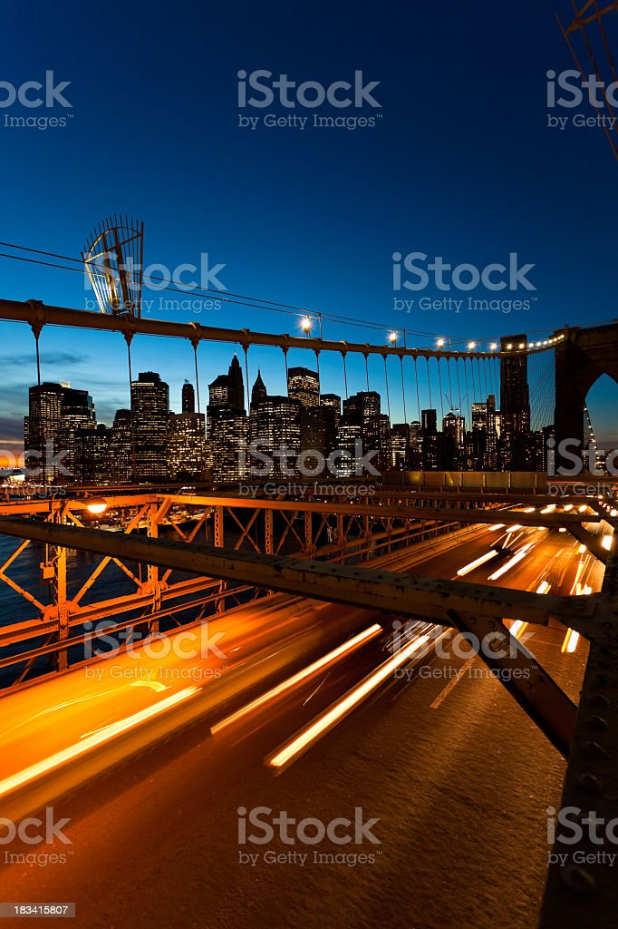 Brooklyn bridge by night royalty-free stock photo