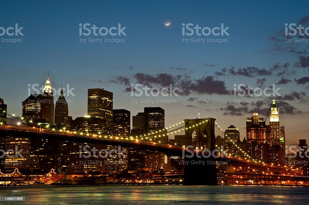 Brooklyn Bridge by twilight royalty-free stock photo
