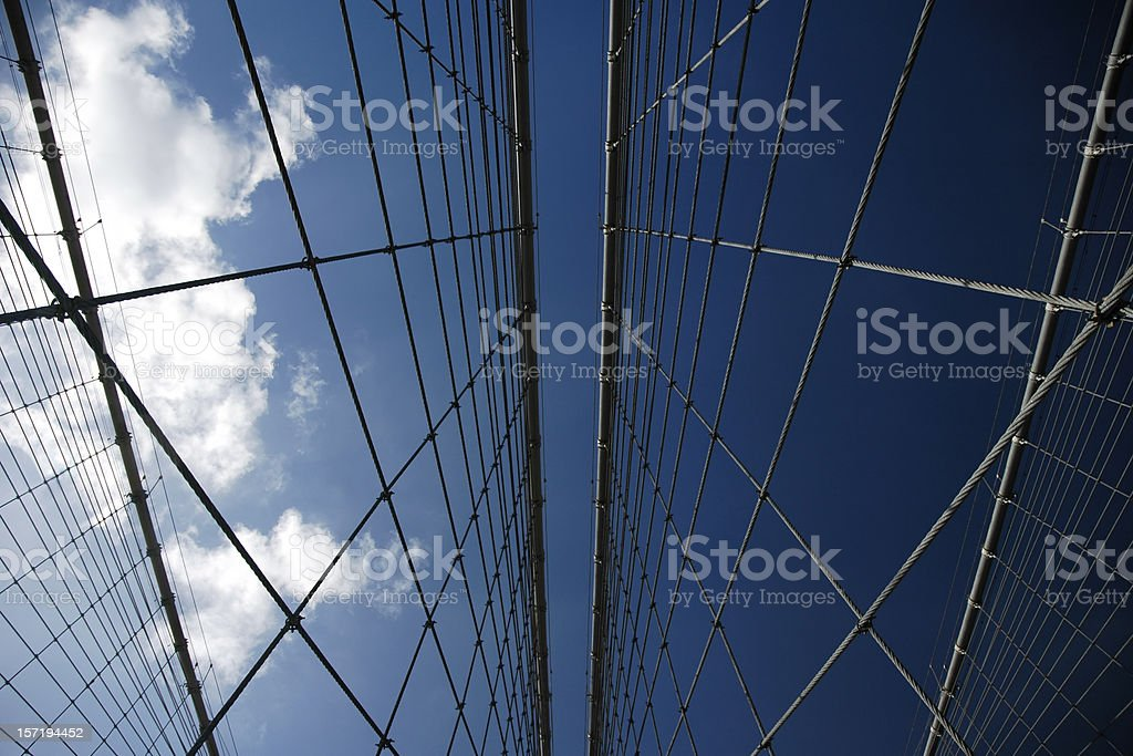 Brooklyn Bridge cables against the sky stock photo