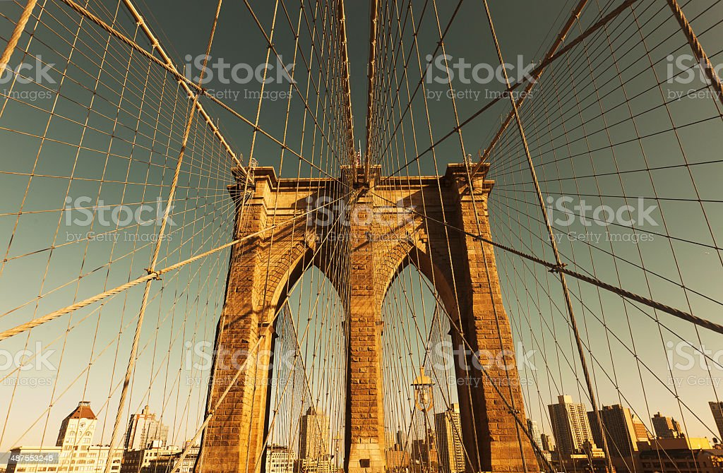 Brooklyn Bridge cable-stayed suspension stock photo