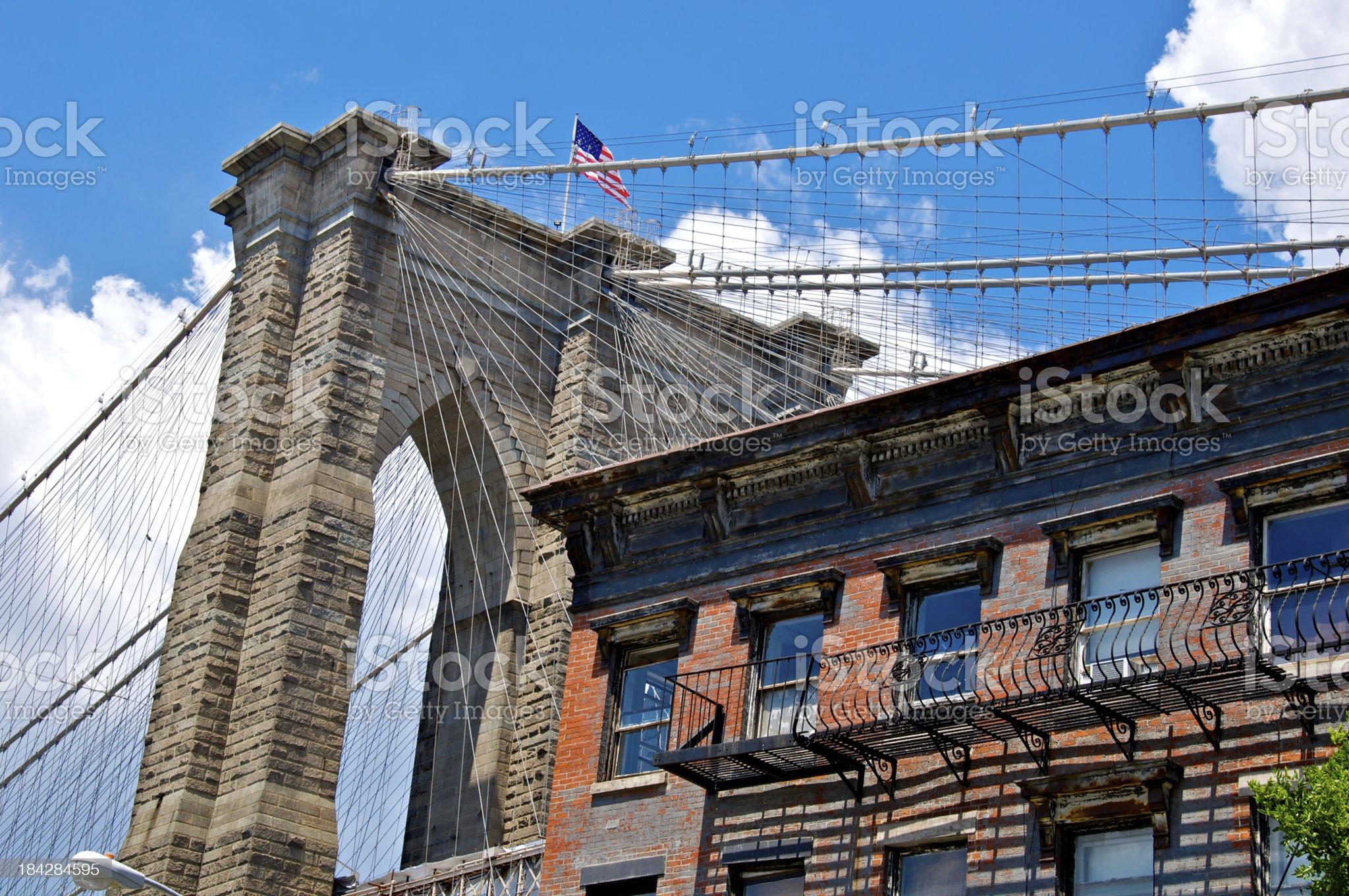 Brooklyn Bridge cityscape, DUMBO, New York City royalty-free stock photo