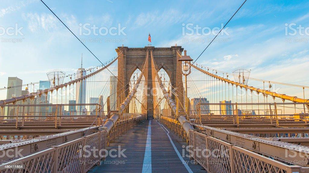 Brooklyn Bridge, Day light, New York, USA stock photo